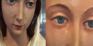 Captan estatua de la Virgen María con 'lágrimas' en sus ojos